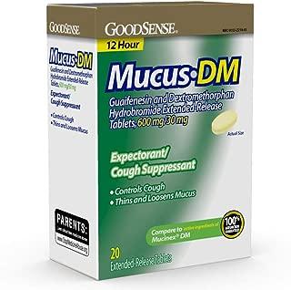 GoodSense Maximum Strength Mucus DM Expectorant and Cough Suppressant, Contains Guaifenesin and Dextromethorphan HBr, 20 Count