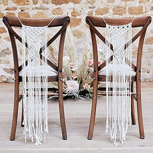Miss Lovely Guirnalda de macrame para sillas, color blanco de lana, para decoración de sillas, decoración de bodas, accesorios de decoración de habitaciones, accesorios para novia y novio, 2 unidades