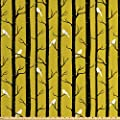 Lunarable Yellow Fabric by The Yard, Modern Artdeco Style Design Forest with Birds and Trees Artwork Print, Decorative Fabric for Upholstery and Home Accents, 3 Yards, Amber White