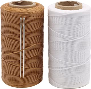 Tenn Well 1MM Leather Sewing Thread, 2 Roll x 284 Yards 150D Waxed Thread Sail Kit with Needle for Leather DIY Projects (Brown, White)