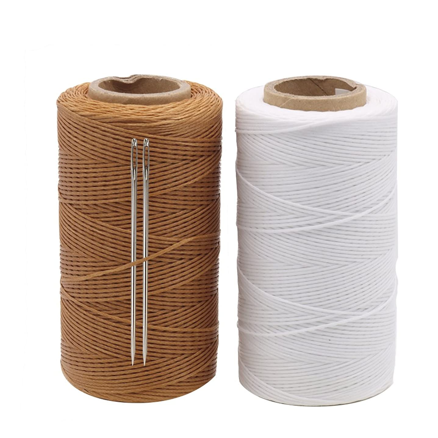Tenn Well 568 Yards 150D 1MM Leather Sewing Waxed Thread With Needles for Leather Craft Project (2 Rolls x 284Yards)