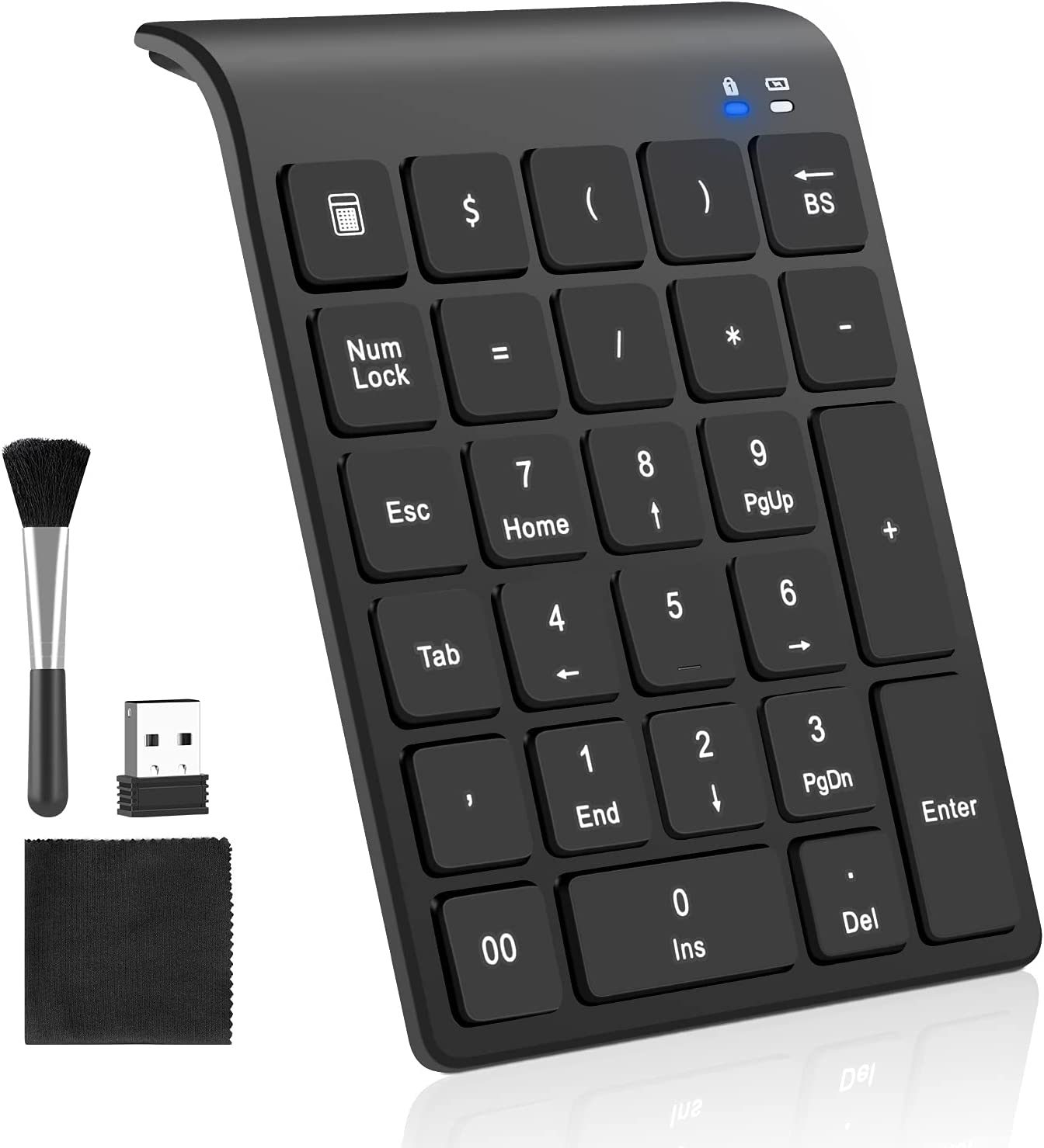 Number Pad, 27 Keys Portable USB Wireless Numeric Keypad with Clean Brush Slim Mini 2.4 G Financial Accounting Numeric Pad Extensions for MacBook, MacBook Air/Pro,Notebook, Desktop,Laptop,PC(Black)
