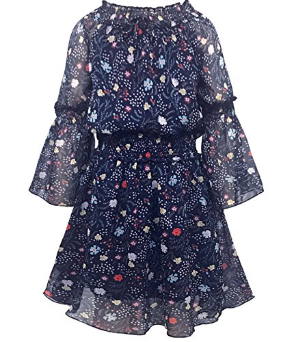 Smukke, Big Girls Tween Beautiful Printed Chiffon Off The Shoulder Long Sleeves Fall Dresses (Multiple Colors), 7-16 (12, Navy Multi)