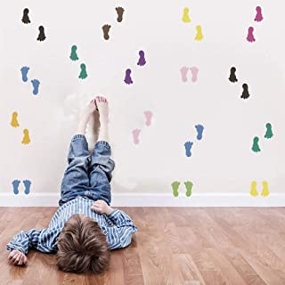Primary Color Decals Footprint Wall Stickers for Kids Room Playroom Decor Colorful Removable Nursery Wall Art 30 Counts Fo...