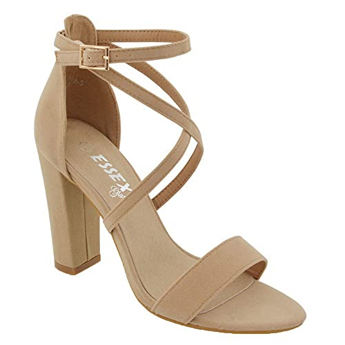 a533f2d2b ESSEX GLAM Womens Ankle Strap Block Heel Sandals Ladies Strappy Buckle Prom  Party Shoes Size 3