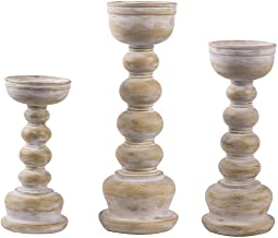 """Shengming Antique Wood Look Wash Finish Pillar Set of 3 Candle Holders W/ 8"""", 10"""",12"""" H.Ideal for LED & Pillar Candles, Gi..."""