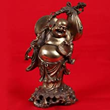 Ornaments Statues Sculptures Chinese Religious Handmade Brass Wealth Bag Monk Happy Laughing Maitreya Buddha Statue