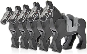 Feleph Black Horse Building Blocks Sets Toys Knight Animals Figures Horses with Saddles Bricks Toy 5pcs