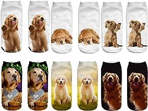 Unisex's Lovely 3D Golden Retriever Ankle Socks for Young Dog Lover