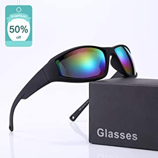 Polarized Motorcycle Riding Glasses Goggles Sunglasses for Men and Women Ski Goggles Adjustable UV Protective Windproof Dustproof Anti Fog Sports Sunglasses - Wraparound Frame - Case Included
