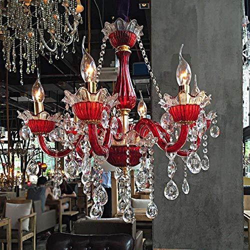 ZCZZ Hombre Cafe Dormitorio Lámpara de Cristal Iluminación Color Rojo Araña Personalidad Creativa Cyber Cafe Bar Lámpara de Hotel Venta al por Mayor, Seis sin Cubierta, Púrpura