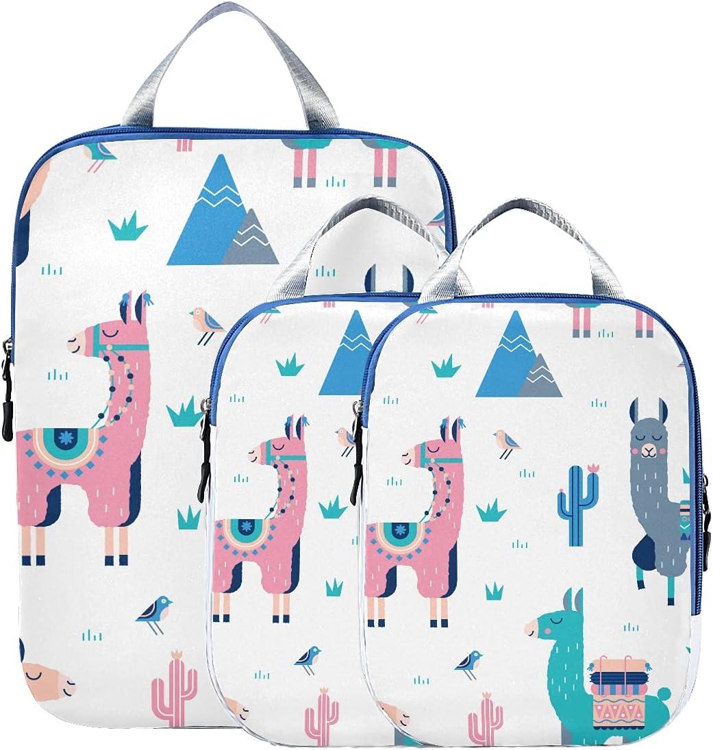 Long Beach Mall Compression Travel Bags Cute Snow Genuine Alpaca With White Lama Cactus