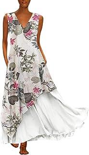 Women Boho Dress Plus Size Casual V Neck Splicing Layered