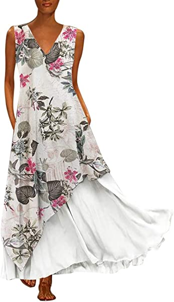 Staron Plus Size Vintage Dress Women Elegant V Neck Splicing Sleeveless Floral Lace Evening Party Maxi Dress