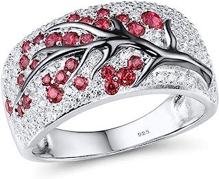 خاتم من الفضة الإسترلينية عيار 925 من شجرة الكرز الوردية الرقيقة مصنوعة من الياقوت الأبيض اللامع زركونيا مكعب
