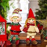 2 Muñecos de Peluche de Duende Navideño Muñeco de Peluche de Elfo de Piernas Largas de 12 Pulgadas Lindo Muñeco de Papá Noel Elfo de Niños Suave para Adornos de Escritorio (Estilo Alegre)