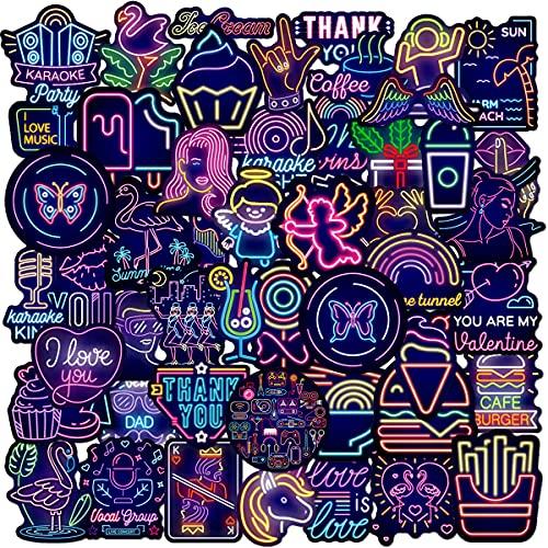 Dream Paquete de Pegatinas - Tomicy 100 Pezzi Neón Stickers Neón Moto Graffiti Stickers Neón Maleta Pegatinas para Décoration de Fête, Motocicleta, Equipaje, Computadora, Decoración de Bricolaje