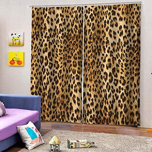 3D Cortinas Opacas,Diseño De Impresión Digital Cortinas Verticales Distintivas, Leopardo Impresión Simple Elegante Cortinas De Ojal Aislamiento Transpirable, Para La Sala De Estar Dormitorio Niño