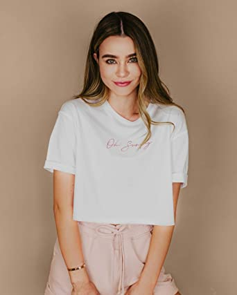 The Drop Camiseta blanca de corte cuadrado con eslogan bordado para mujer por @Sierrafurtado