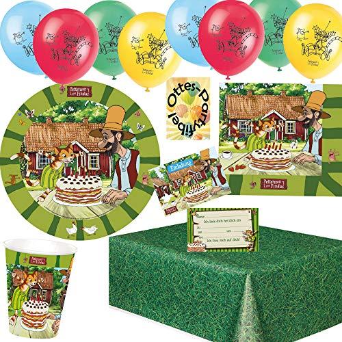 HHO Pettersson-Findus-Party-Set 53tlg. für 8 Gäste Teller Becher Servietten Tischdecke Einladungen Luftballons