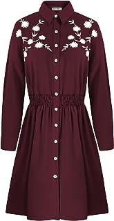 Women Loose Shirt Dresses Printed Elastic Waist A Line...