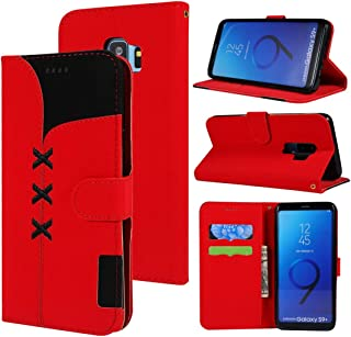 SHUHAN Mobile Phone Case for Galaxy Fabric Stitching Embroidery Horizontal Flip Leather Case With Holder & Card Slots & Wallet for Galaxy S9+(Red) (Color : Light Blue)