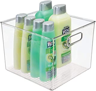 mDesign Deep Plastic Storage Bin Tote with Handles for Organizing Hand Soaps, Body Wash, Shampoos, Lotion, Conditioners, Hand Towels, Hair Accessories, Body Spray, Mouthwash - 8