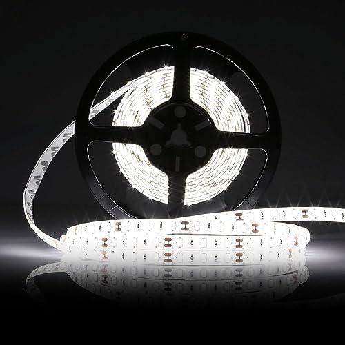 LEDMO Ruban LED Blanc 6000K DC12V SMD5630-300leds 5M lumière du jour 25lm/LED,IP65 étanche Pack avec Bande LED 5M(Pas d'alimentation 12V 5A)