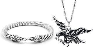 Vnox Anello dell'Acciaio Inossidabile degli Uomini dell'Acciaio Inossidabile ha torto la Collana del Pendente del Braccial...