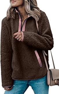 Womens Long Sleeve Sherpa Fuzzy Fleece Sweatshirts 1/4 Zip up Pullover Outwear with Pockets
