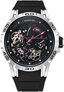 Huboler Skeleton Mechanical Men's Watch Tourbillon Automatic Movement Luminous