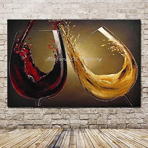 Olieverfschilderij handbeschilderd, overzicht wijnglas, rode wijn en geel van glas, champagneglas, moderne decoratie, grote afmetingen voor schilderwerk, woonkamer, slaapkamer, restaurant bar 70 x 105 cm