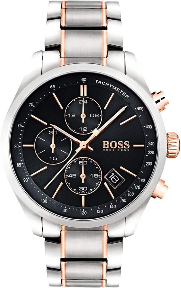 Hugo boss,orologio,cronografo per uomo,in acciaio inossidabile bicolore e placcato in oro rosa 1513473