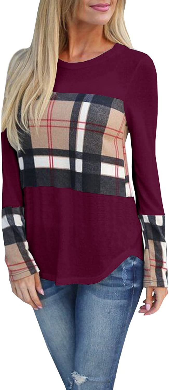 Farktop Womens Casual color Block Long Sleeve Shirt Crewneck Front Plaid Tunic Tops Blouse
