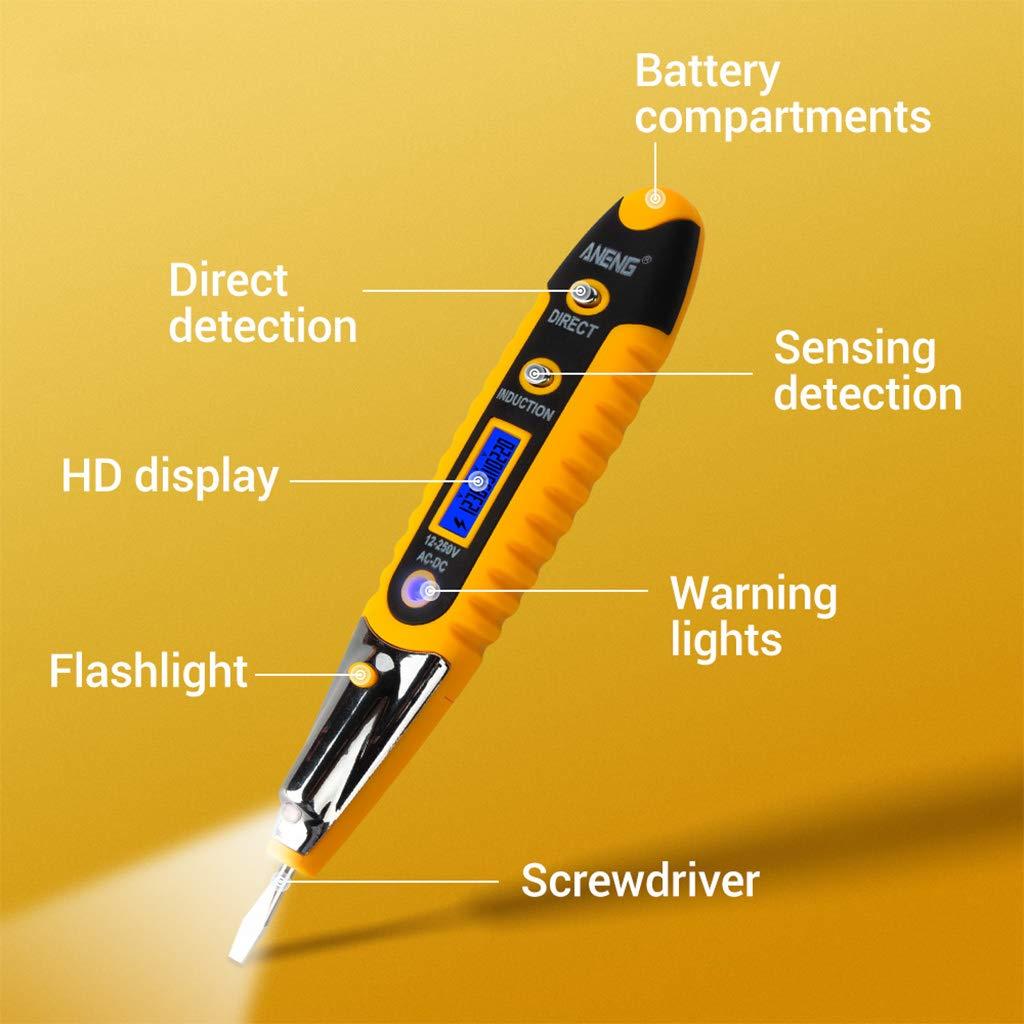 Medidor de los detectores de voltaje de la CA de la pluma del contacto 12-250V, lápiz eléctrico de la corriente de Volt