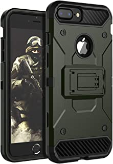 iPhone 8 Plus Case,iPhone 7 Plus Case,iPhone 6 Plus Case,iPhone 6s Plus Case HUATRK Kickstand Three Layer Heavy Duty Shockproof Protective Cover Green