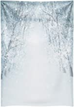 Funnytree 6x8ft Durable White Snow Winter Tree Road Photography Backdrop No Wrinkles Bokeh Wonderland Background Frozen Snowflake Glitter Newborn Baby Portrait Banner Party Decor Photo Studio Props
