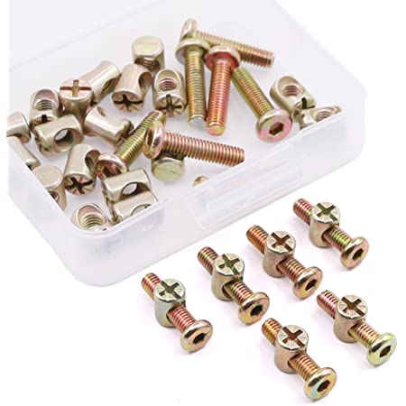 sourcing map M6 x 15mm Furniture Bolts Nut Set Hex Socket Screw with Barrel Nuts Phillips-Slotted Zinc Plated 10 Sets