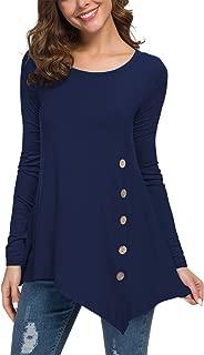 Women's Long Sleeve Scoop Neck Button Side Asymmetrical Tunic Top