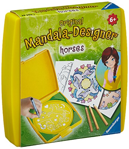 Ravensburger Mandala Designer Mini horses 29986, Zeichnen lernen für Kinder ab 6 Jahren, Kreatives Zeichen-Set mit Mandala-Schablone für farbenfrohe Mandalas