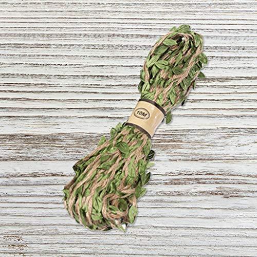 VWsiouev Cuerda de cuerda con hoja, 10 yardas coloridas cuerda de cáñamo, cuerda de yute con hoja de yute cuerda para bricolaje hecho a mano arte y manualidades decoración del hogar jardín (verde)