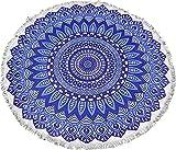 Mantel de Mesa Redonda Diseño Mandalas Modernos Mantel Mesa Camilla Absorbente de 150*150 (Azul)