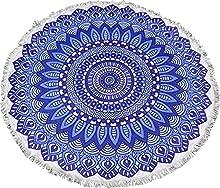 Toalla de Playa Redonda Mandala Resistente a la Playa y Arena de 150*150 (Azul)