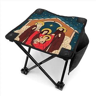 アウトドア 椅子 マギの礼拝。聖家族とクリスマスの天使 アウトドア 椅子 ピクニック 釣り コンパクト イス 持ち運び キャンプ用軽量 収納バッグ付き 折りたたみチェア レジャー 背もたれなし