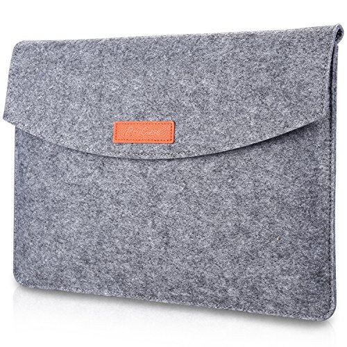 ProCase 9.7-10.1 Inch Felt Sleeve Case Pouch, for iPad 10.2' 2020 2019 / iPad Air 3 2 1 / iPad Pro 11' 10.5' 9.7' /iPad 4 3 2, Galaxy Tab S4 10.5' / Tab S3 S2 9.7'/ Lenovo Yoga Book 10.1' -Grey