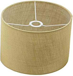Woven Beige Burlap Drum Shades Accommodate Arc Style Floor Lamps and Other Compatible Lamps of All Styles, Slip UNO Fitter,Set of 1