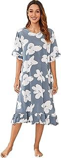SheIn Women's Floral Print Ruffle Hem Short Sleeve Dress Sleepwear