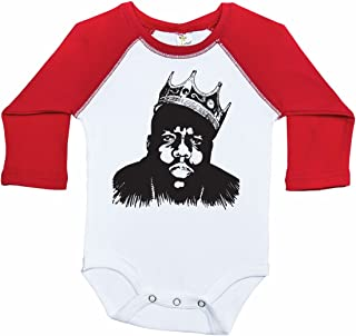 Biggie Inspired Long Sleeve Raglan Baby Onesie/Biggie Smalls/Unisex Bodysuit