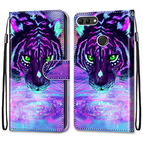 anzeal Huawei Enjoy 8 + Plus Tiger Drinking Wallet Case, Wrist Strap [Card] PU Leather Painted Wallet Protection Case Magnetic Stand Flip Case Cover for Huawei Enjoy 8 + Plus Style-35