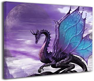 SRuhqu Canvas Wall Art Prints Medieval Fantasy Theme Purple Dragon -Picture Paintings Modern Decorative Giclee Artwork Wall Decor-Wood Frame Ready to Hang
